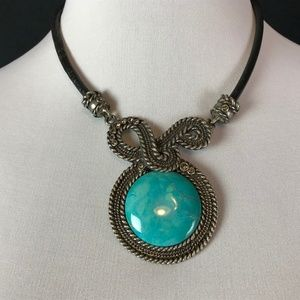 Turquoise Necklace Silver Blue